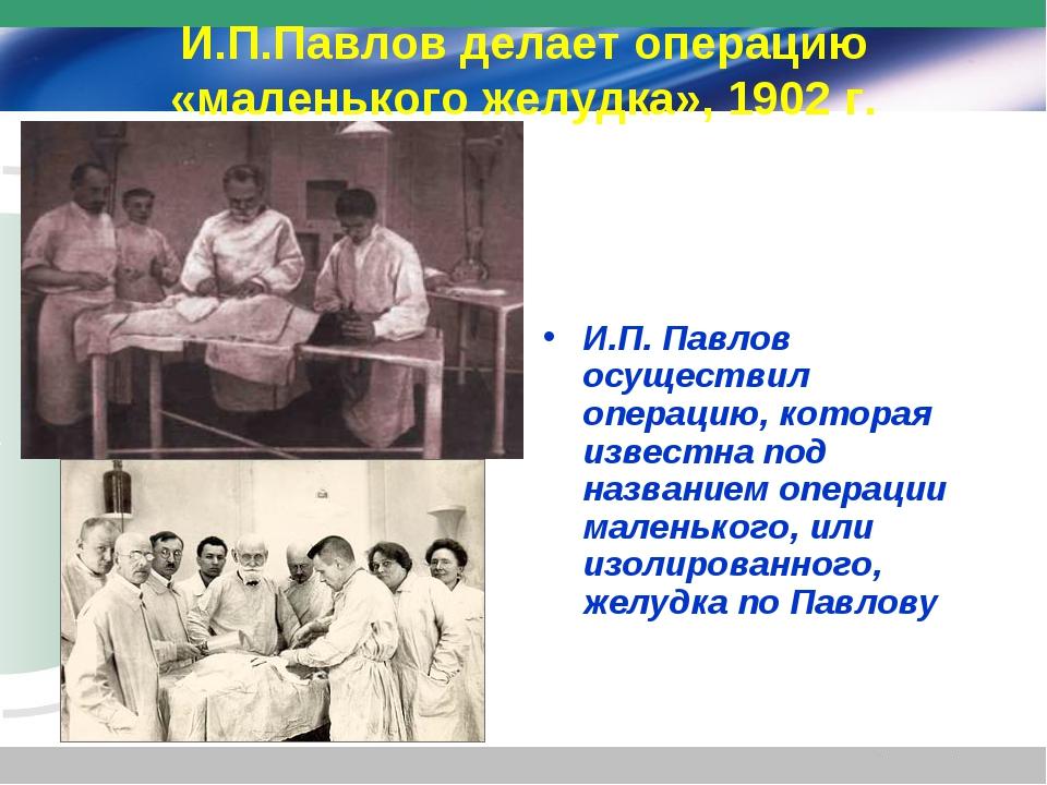 И.П.Павлов делает операцию «маленького желудка», 1902 г. И.П. Павлов осуществ...