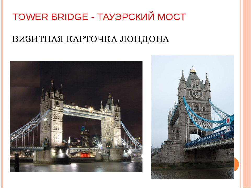TOWER BRIDGE - ТАУЭРСКИЙ МОСТ ВИЗИТНАЯ КАРТОЧКА ЛОНДОНА