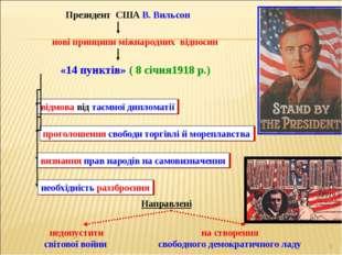 * Президент США В. Вильсон нові принципи міжнародних відносин «14 пунктів» (