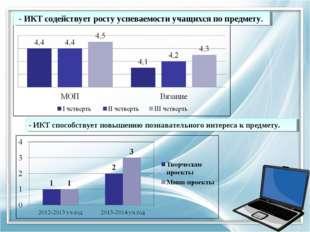 - ИКТ содействует росту успеваемости учащихся по предмету. - ИКТ способствуе