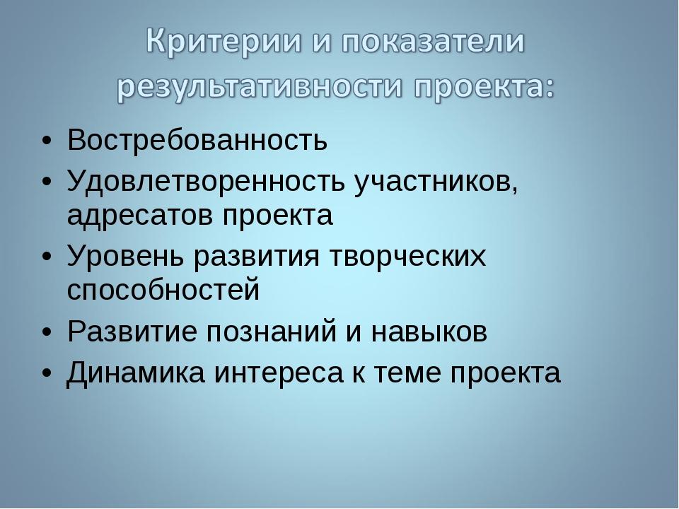 Востребованность Удовлетворенность участников, адресатов проекта Уровень разв...