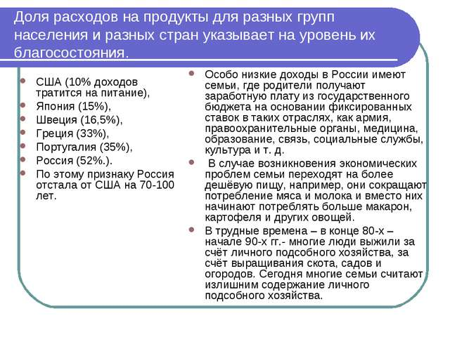 Доля расходов на продукты для разных групп населения и разных стран указывает...