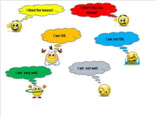 I liked the lesson! I am OK. I am very well. I didn't like the lesson! I am n