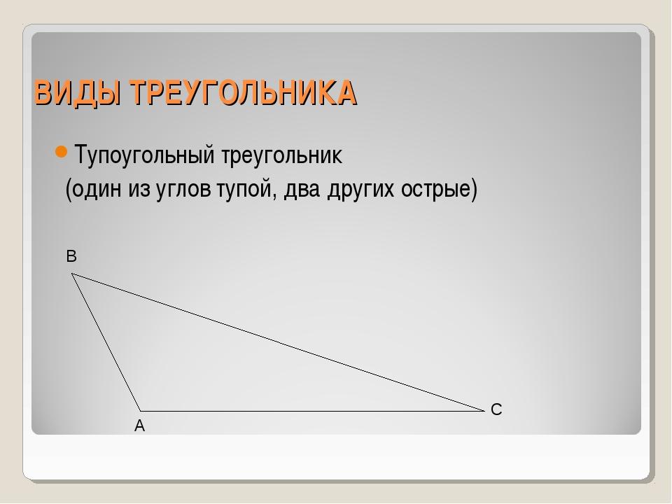 ВИДЫ ТРЕУГОЛЬНИКА Тупоугольный треугольник (один из углов тупой, два других о...