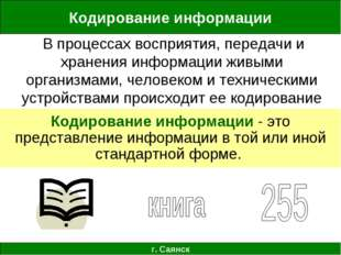 Кодирование информации г. Саянск В процессах восприятия, передачи и хранения