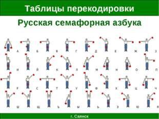 Таблицы перекодировки г. Саянск Русская семафорная азбука