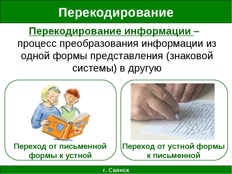 Перекодирование г. Саянск Перекодирование информации – процесс преобразования...