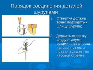 Порядок соединения деталей шурупами Отвертка должна точно подходить к шлицу ш