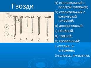 Гвозди а) строительный с плоской головкой; б) строительный с конической голов