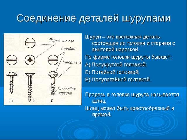 Соединение деталей шурупами Шуруп – это крепежная деталь, состоящая из головк...