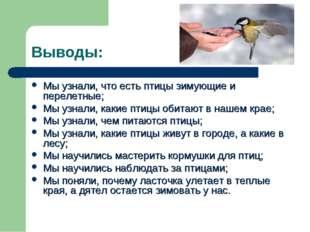 Выводы: Мы узнали, что есть птицы зимующие и перелетные; Мы узнали, какие пти