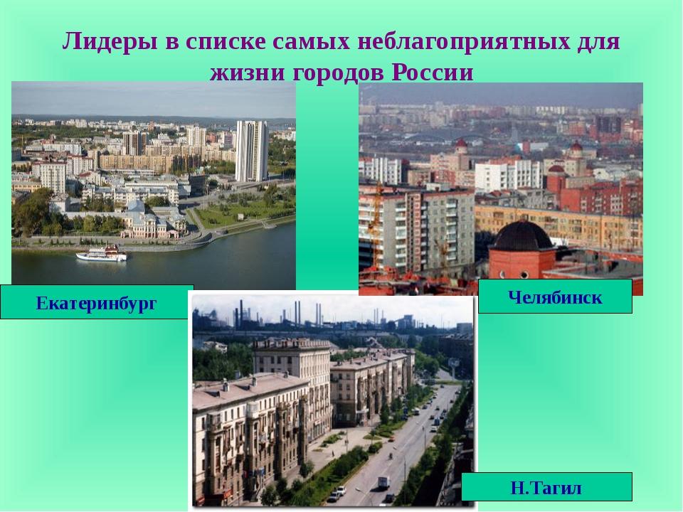 Лидеры в списке самых неблагоприятных для жизни городов России Екатеринбург Н...
