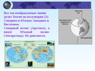 Все эти воображаемые линии делят Землю на полушария (2): Северное и Южное; За