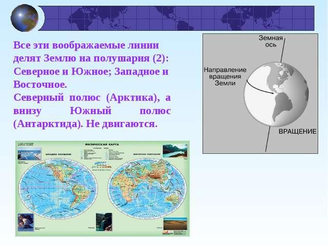 Все эти воображаемые линии делят Землю на полушария (2): Северное и Южное; За...