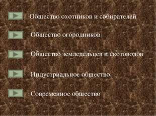 Общество охотников и собирателей Общество огородников Общество земледельцев и