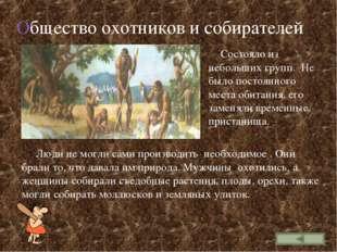 Общество охотников и собирателей Состояло из небольших групп. Не было постоян