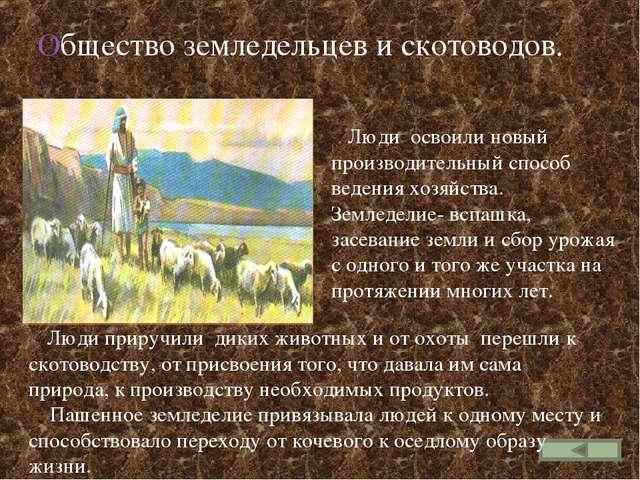 Общество земледельцев и скотоводов. Люди приручили диких животных и от охоты...