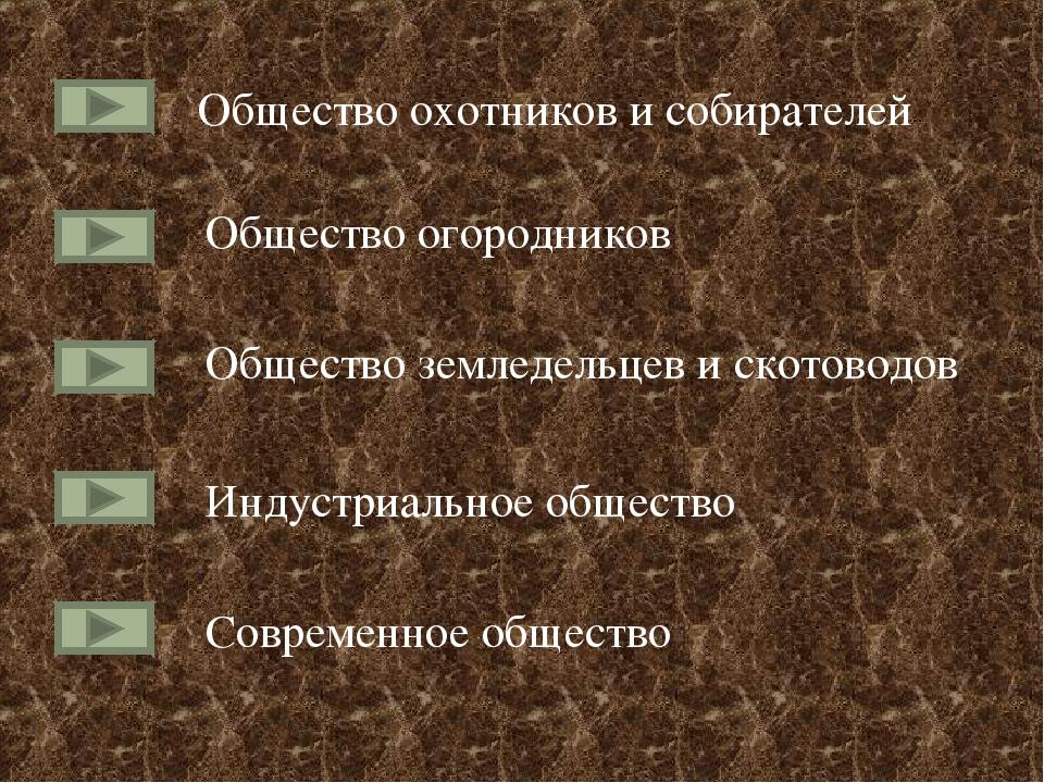 Общество охотников и собирателей Общество огородников Общество земледельцев и...