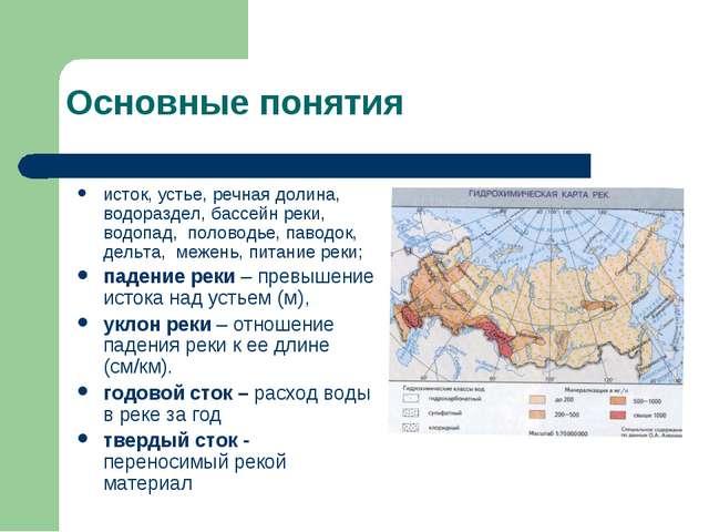 Основные понятия исток, устье, речная долина, водораздел, бассейн реки, водоп...