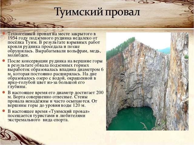 Техногенный провал на месте закрытого в 1954 году подземного рудника недалеко...