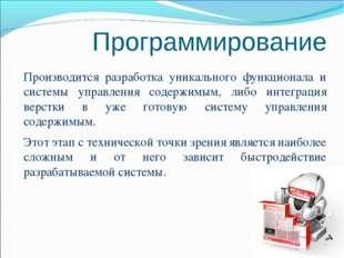 Программирование Производится разработка уникального функционала и системы уп