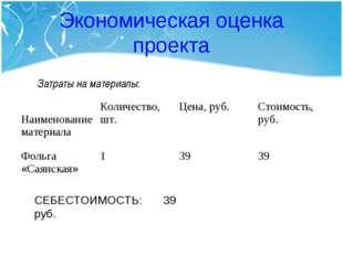 Экономическая оценка проекта Затраты на материалы: СЕБЕСТОИМОСТЬ: 39 руб. Наи