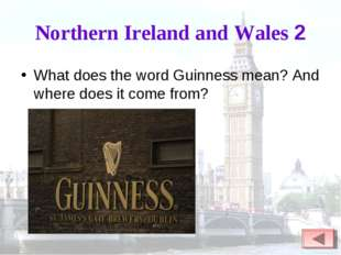 Northern Ireland and Wales 2 What does the word Guinness mean? And where does