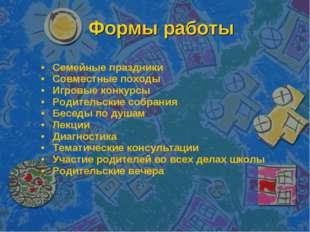 Формы работы Семейные праздники Совместные походы Игровые конкурсы Родительск