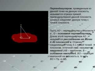 Перпендикуляром, проведенным из данной точки на данную плоскость, называется