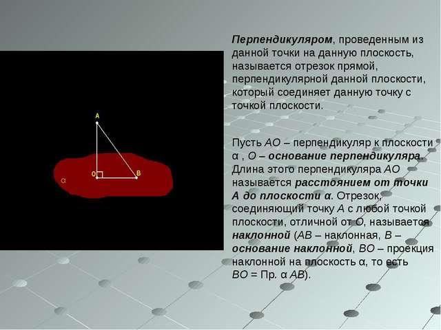 Перпендикуляром, проведенным из данной точки на данную плоскость, называется...