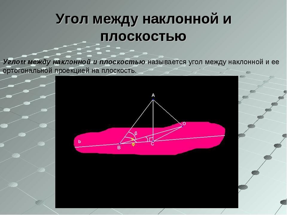 Угол между наклонной и плоскостью Углом между наклонной и плоскостью называет...
