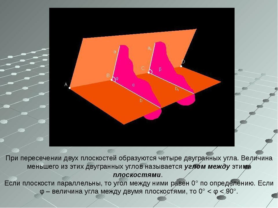 При пересечении двух плоскостей образуются четыре двугранных угла. Величина м...