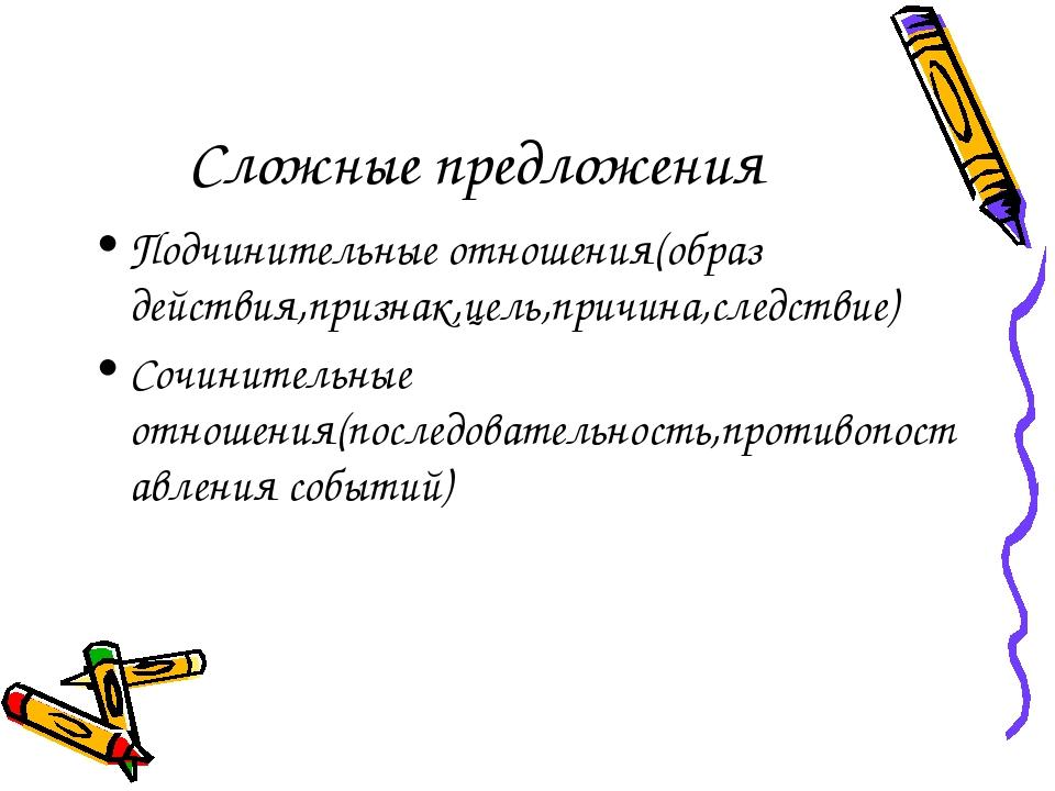 Сложные предложения Подчинительные отношения(образ действия,признак,цель,при...