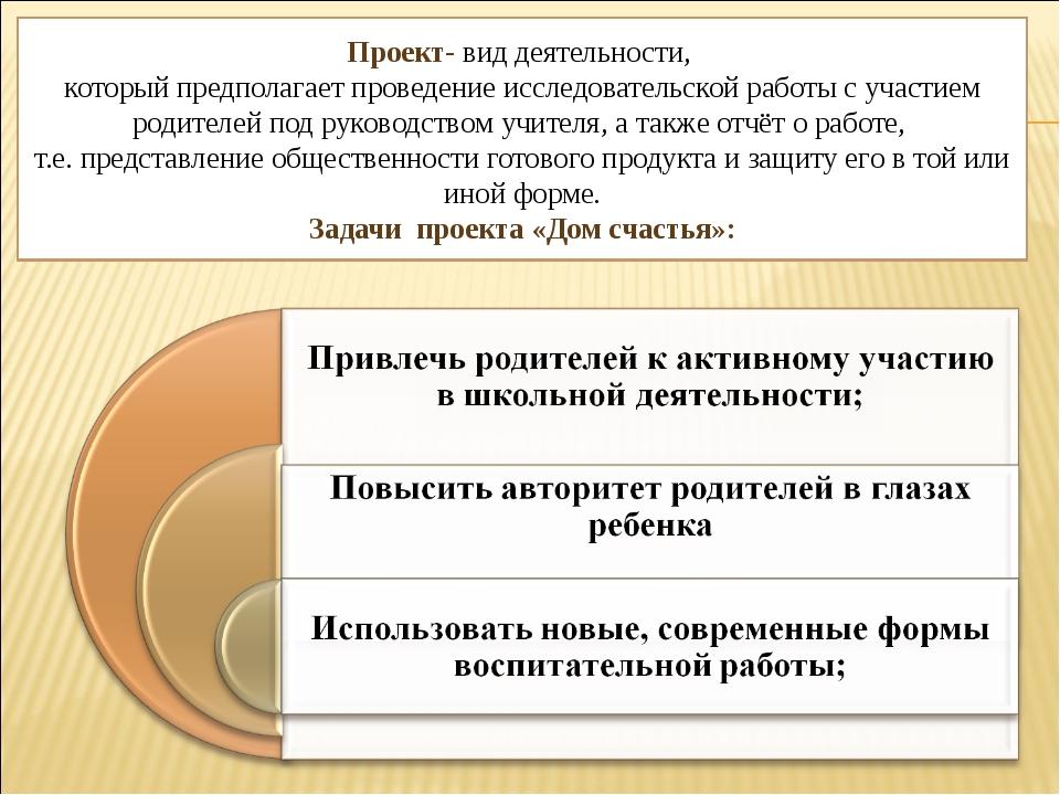 Проект- вид деятельности, который предполагает проведение исследовательской р...