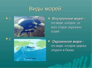 Виды морей: 1. 2 Внутреннее море – это море, которое со всех сторон окружено