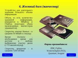6. Жесткий диск (винчестер) Устройство для длительного хранения большого объе
