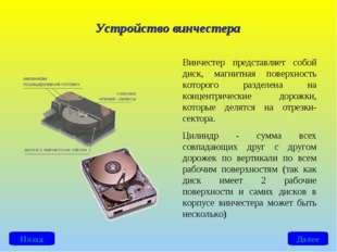 Винчестер представляет собой диск, магнитная поверхность которого разделена н