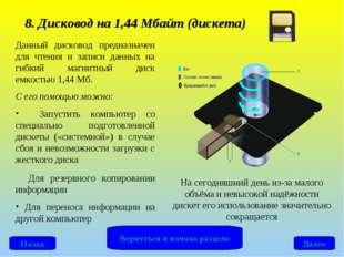 8. Дисковод на 1,44 Мбайт (дискета) Данный дисковод предназначен для чтения и