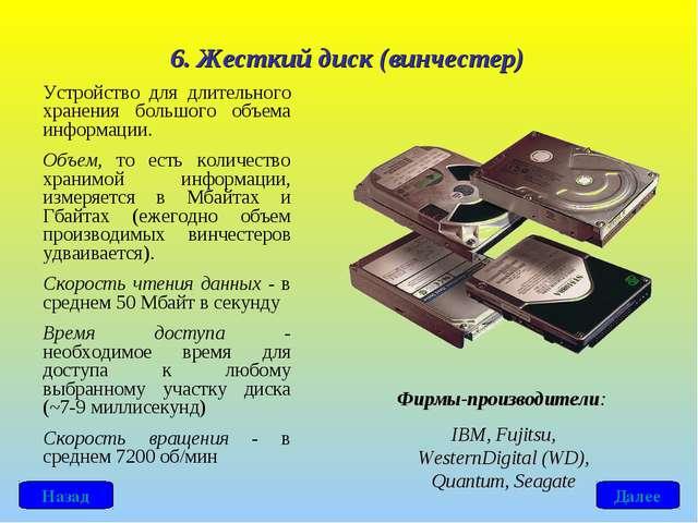 6. Жесткий диск (винчестер) Устройство для длительного хранения большого объе...