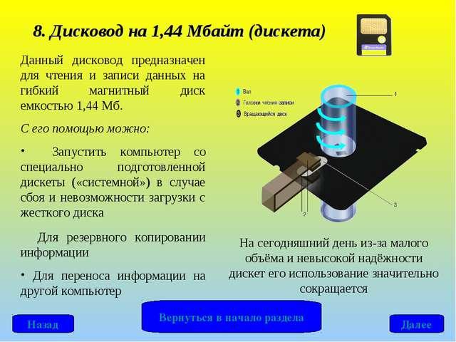 8. Дисковод на 1,44 Мбайт (дискета) Данный дисковод предназначен для чтения и...