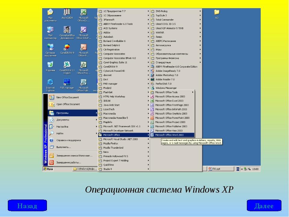Операционная система Windows ХР Далее Назад