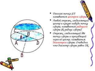 Данная точка (О) называется центром сферы. Любой отрезок, соединяющий центр и