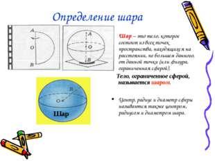 Определение шара Шар – это тело, которое состоит из всех точек пространства,