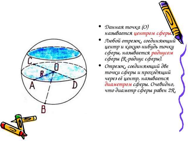 Данная точка (О) называется центром сферы. Любой отрезок, соединяющий центр и...