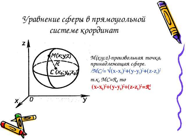 Уравнение сферы в прямоугольной системе координат M(x;y;z)-произвольная точка...