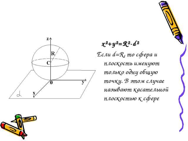 x²+y²=R²-d² Если d=R, то сфера и плоскость именуют только одну общую точку....