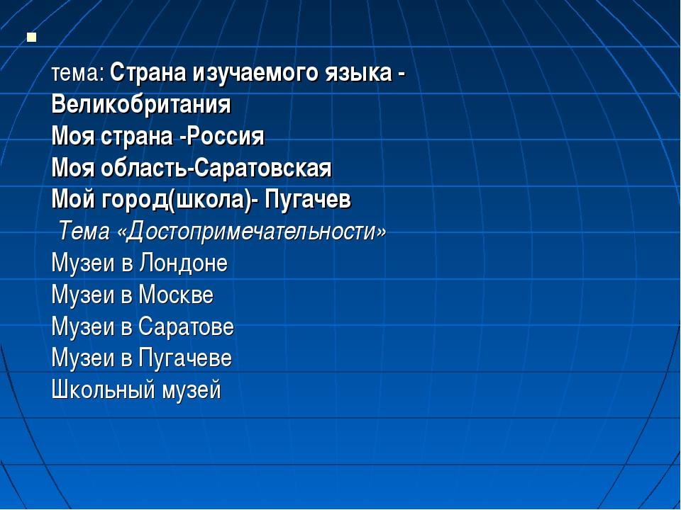 тема: Страна изучаемого языка - Великобритания Моя страна -Россия Моя област...