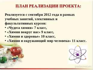Реализуется с сентября 2012 года в рамках учебных занятий, элективных и факул