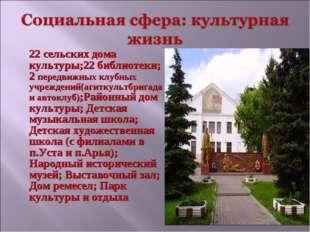22 сельских дома культуры;22 библиотеки; 2 передвижных клубных учреждений(аг