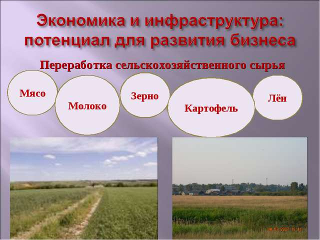 Переработка сельскохозяйственного сырья Мясо Лён Зерно Молоко Картофель
